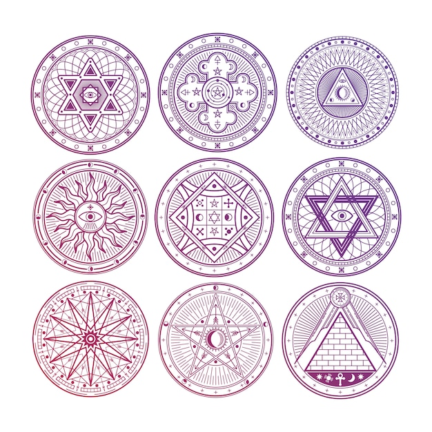 Bright mystery, witchcraft, occult, alchemy, mystical esoteric symbols isolated on white background Premium Vector