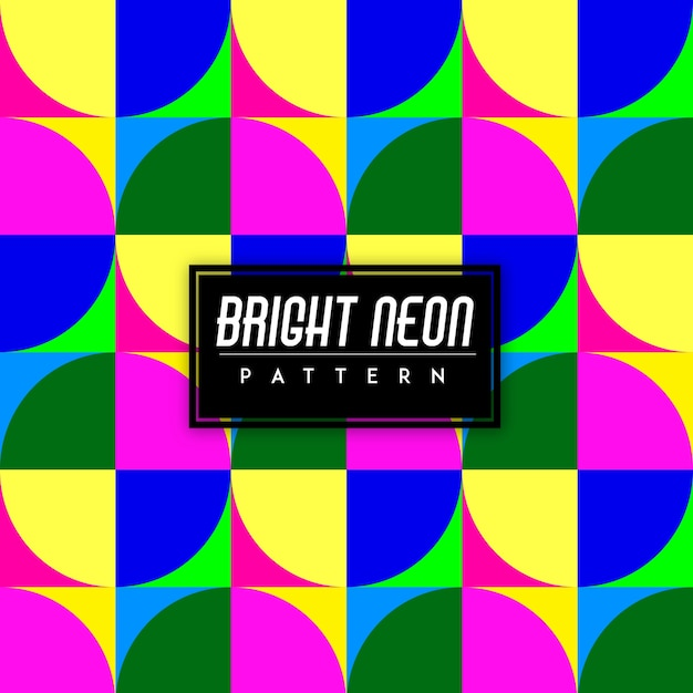 Bright neon colorful shapes seamless pattern background Free Vector
