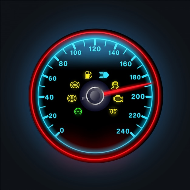 Bright neon digital speedometer with light dashboard indicators illustration Premium Vector