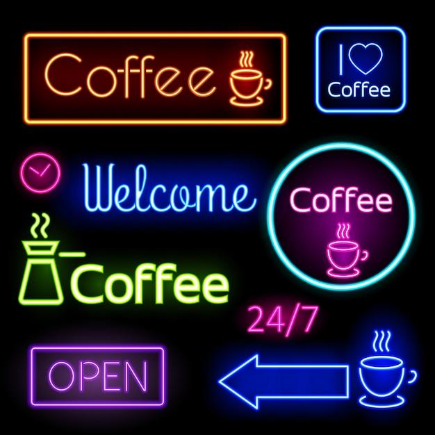 Яркие неоновые вывески для кафе, бара. кофе, открой, добро пожаловать. векторная иллюстрация Бесплатные векторы