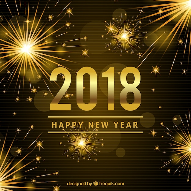 Bright new year 2018 background Free Vector