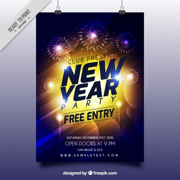 Bright new year abstract poster Free Vector