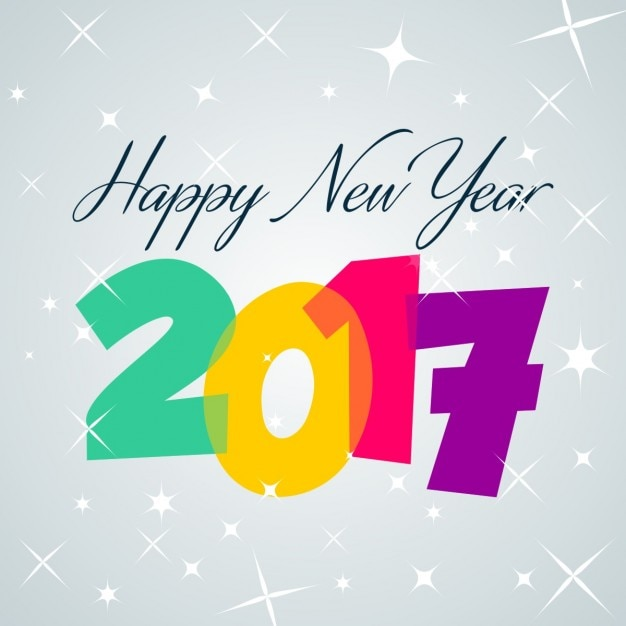 Bright new year card Free Vector