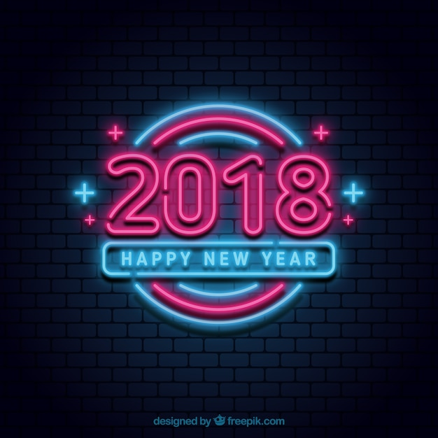 Bright new year neon sign Free Vector