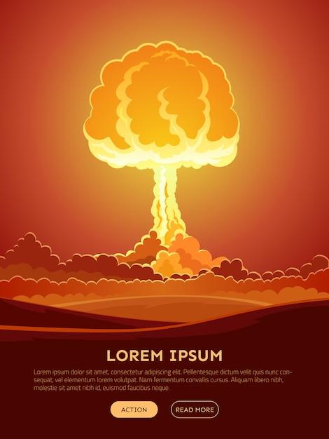 Banner web brillante esplosione nucleare Vettore gratuito