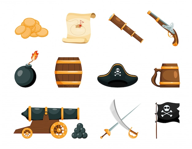 Bright objects of the pirate game Premium Vector