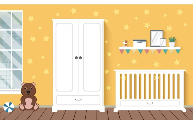 Bright orange baby room with furniture. nursery interior. stylish interior. children room. Premium Vector