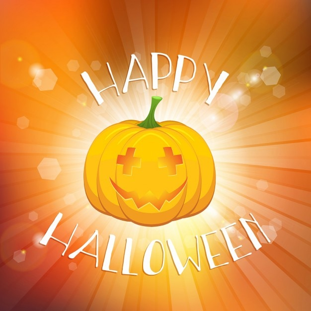 bright orange background with a pumpkin for halloween free vector - Halloween Background Images Free