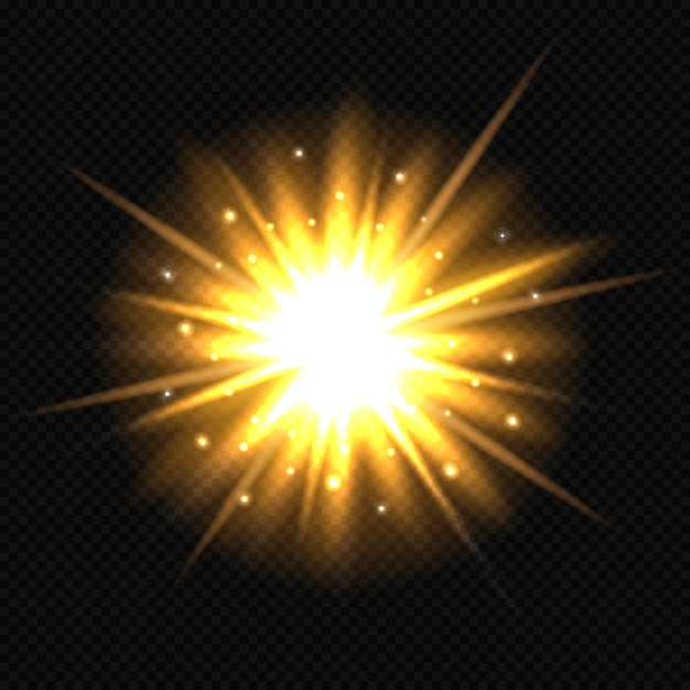 Bright orange star burst. Premium Vector