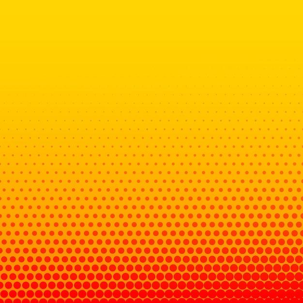 밝은 주황색 노란색 만화 스타일 하프 톤 배경 프리미엄 벡터