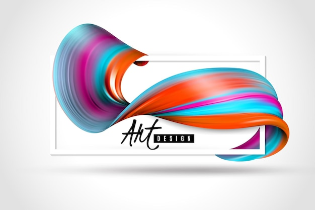 Bright paint brush stroke and white rectangular frame Free Vector