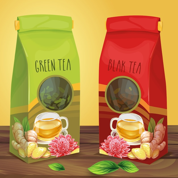 Bright paper packaging for tea hand drawn vector Free Vector