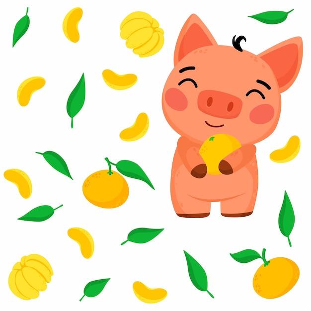 Modello luminoso con maialino e mandarino illustrazione Vettore gratuito
