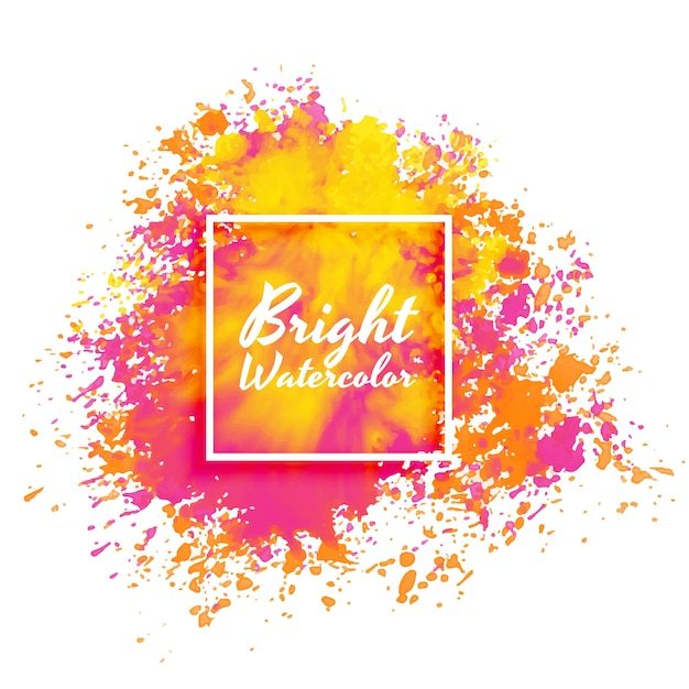 Bright pink and yellow watercolor splatter background