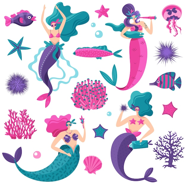 Bright pink petrol violet fantastic sea elements set with mermaids starfish jellyfish fish coral reefs Free Vector