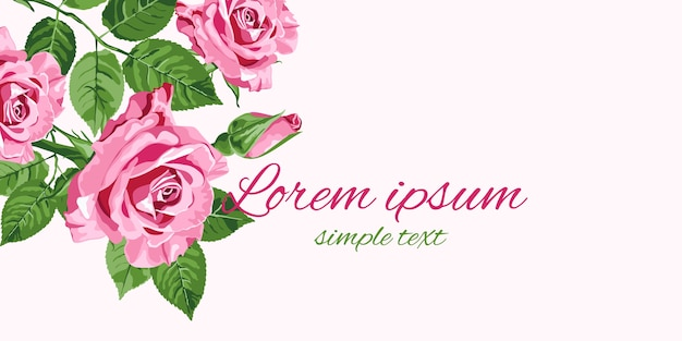 明るいピンクのバラの花のデザインのグリーティングカード Premiumベクター