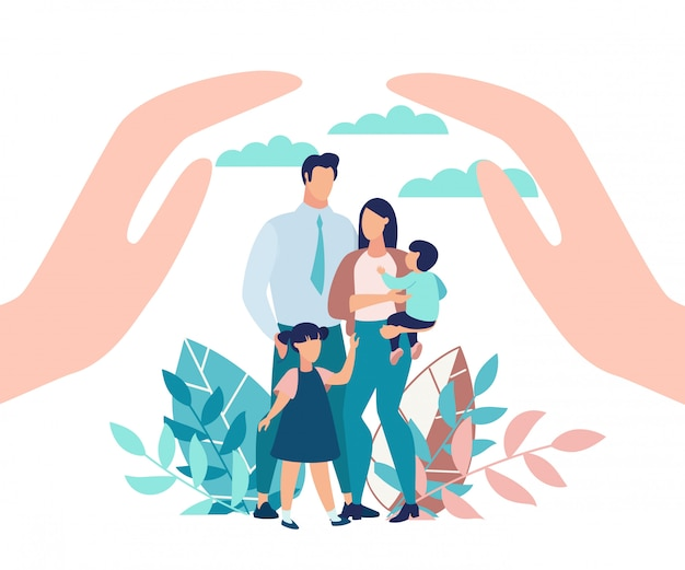 Bright poster family protection with children. Premium Vector