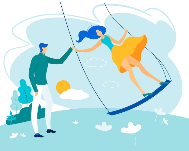 Bright poster man with woman riding swing flat, Premium Vector