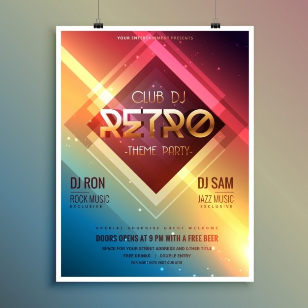 Bright poster for a retro disco party Free Vector