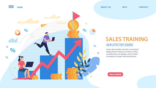 Bright poster sales training new effective course. Premium Vector