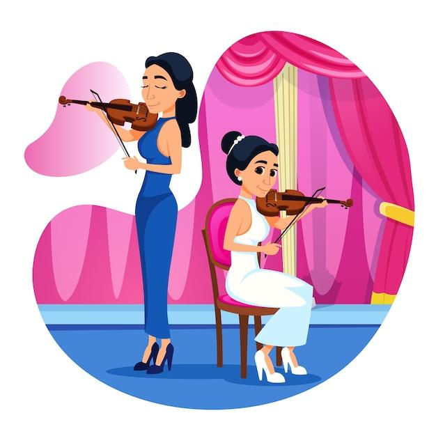 밝은 포스터 바이올린 듀엣 성능 만화. 프리미엄 벡터