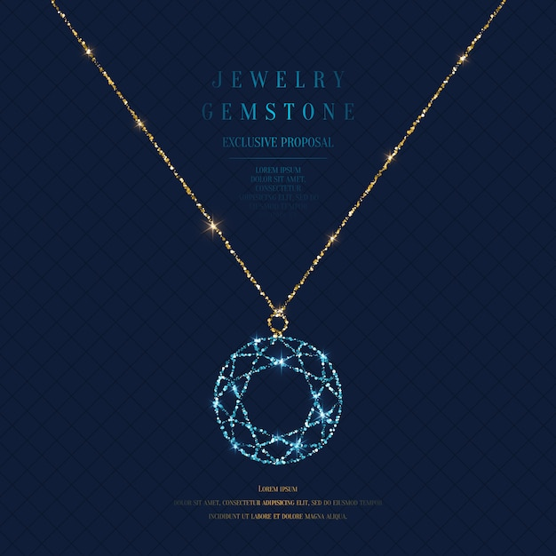 Bright poster with a precious pendant with a chain of gold glitter on a dark background with field for text. Premium Vector