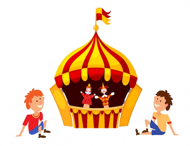 Bright a puppet theater on a white background Premium Vector