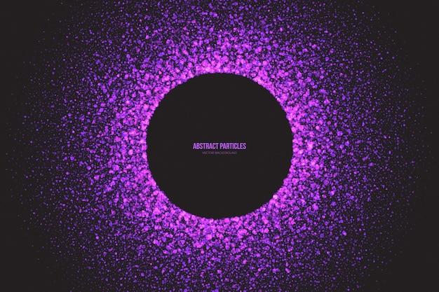 Яркие фиолетовые мерцающие светящиеся частицы круглая рамка Premium векторы