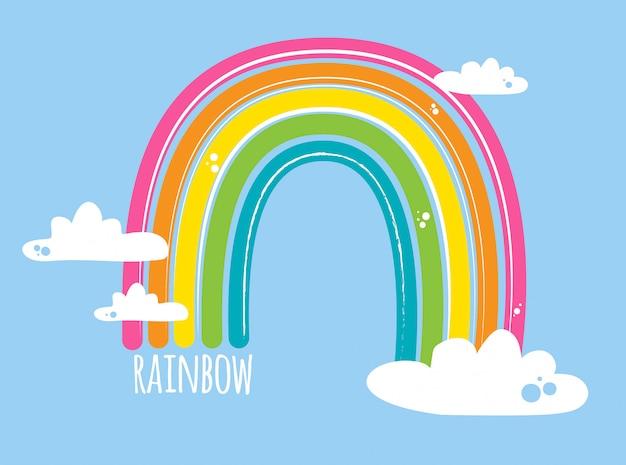 青の雲と明るい虹 Premiumベクター