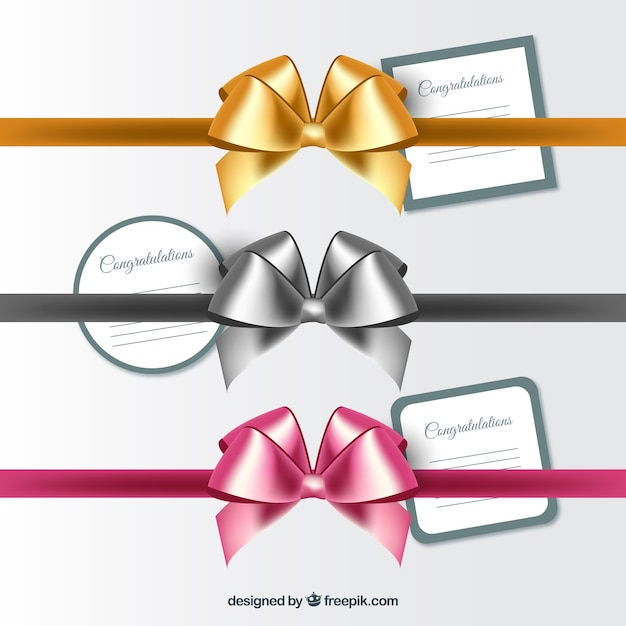 Bright realistic bows set Free Vector