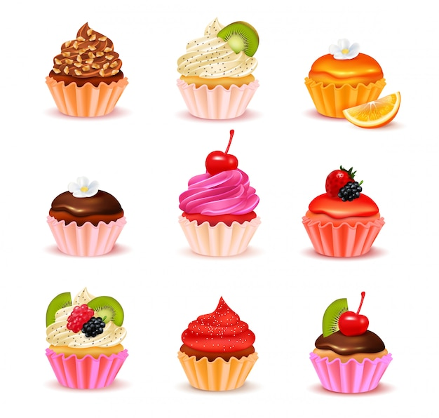 Bright realistic cupcakes with various fillings assortment set isolated on white background vector illustration Free Vector