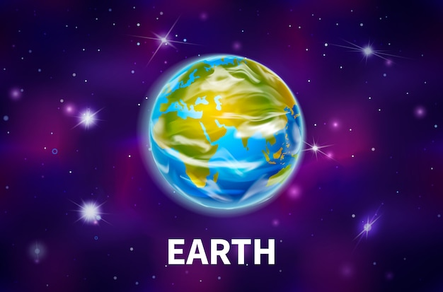 Bright realistic earth planet on colorful deep space background with bright stars Premium Vector