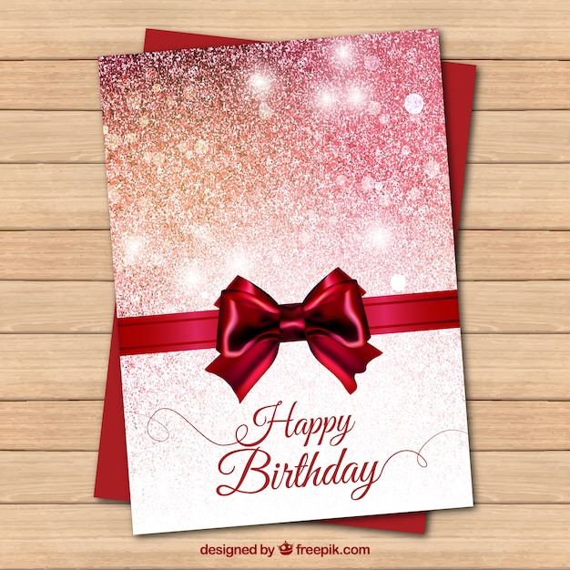 Bright Red Birthday Card With A Bow Vector