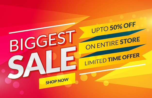Bright sale banner for marketing and promotion Free Vector