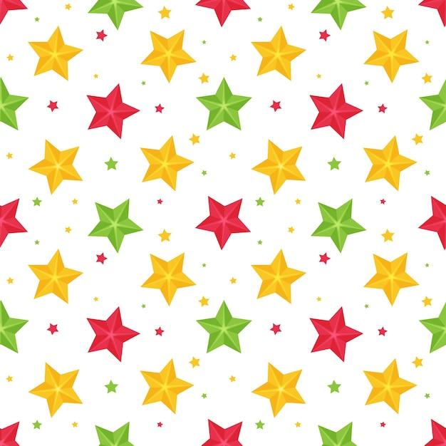 マルチカラーの星と明るいシームレスパターン Premiumベクター