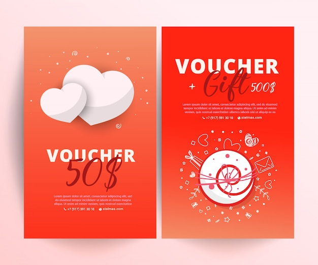 Bright set of gift voucher with flower and leaves Premium Vector