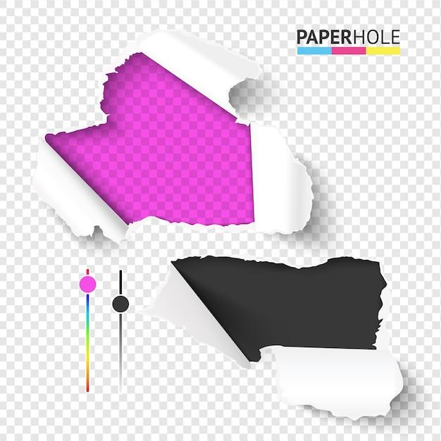 Яркий набор пустых реалистичных рваных кусочков бумаги с рваными краями отверстий Premium векторы