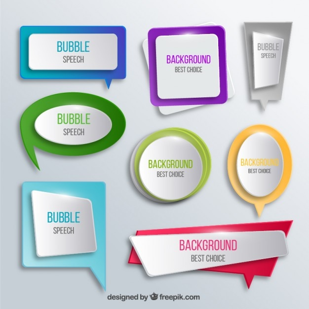 Bright speech bubbles collection Free Vector