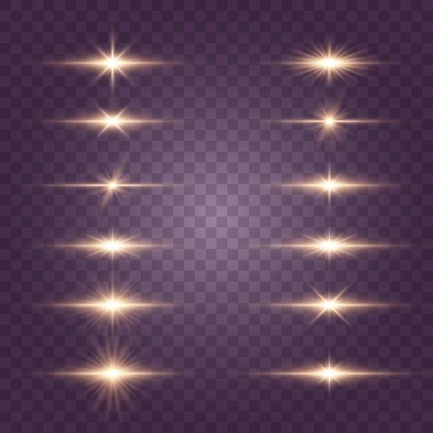 明るい星、輝く太陽、光の効果セット Premiumベクター