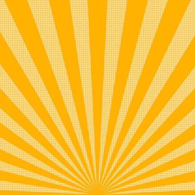 ドットと明るい太陽光線の背景。ハーフトーンドットと抽象的な背景。図 Premiumベクター