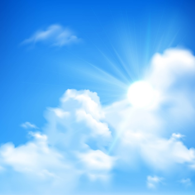 Bright sunbeams coming out of heap clouds background Free Vector