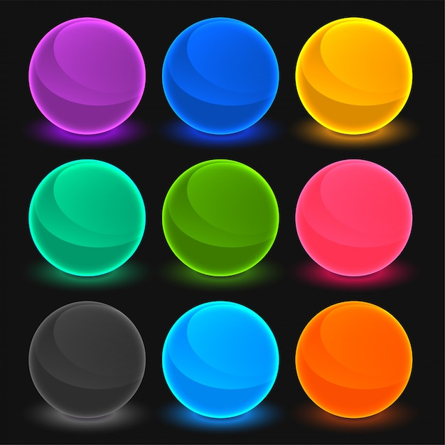Bright toon shades buttons set Free Vector