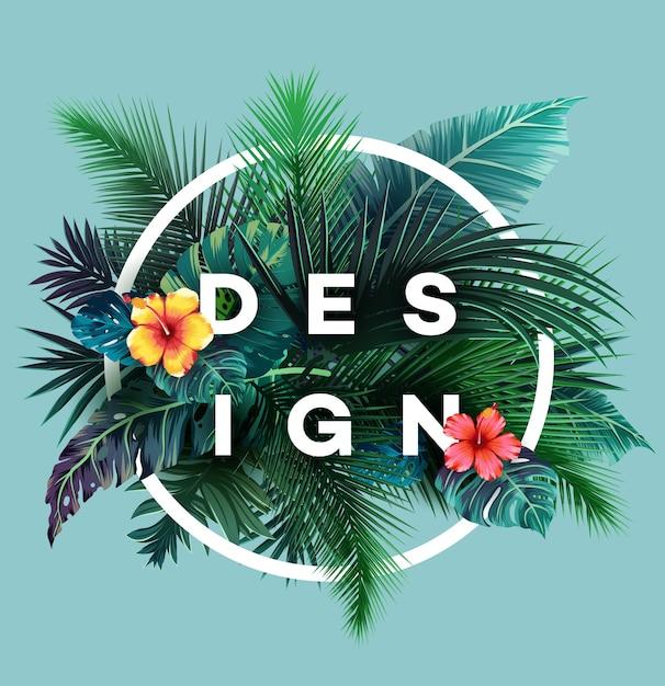 Яркий тропический фон с растениями джунглей. экзотический узор с пальмовыми листьями. Premium векторы