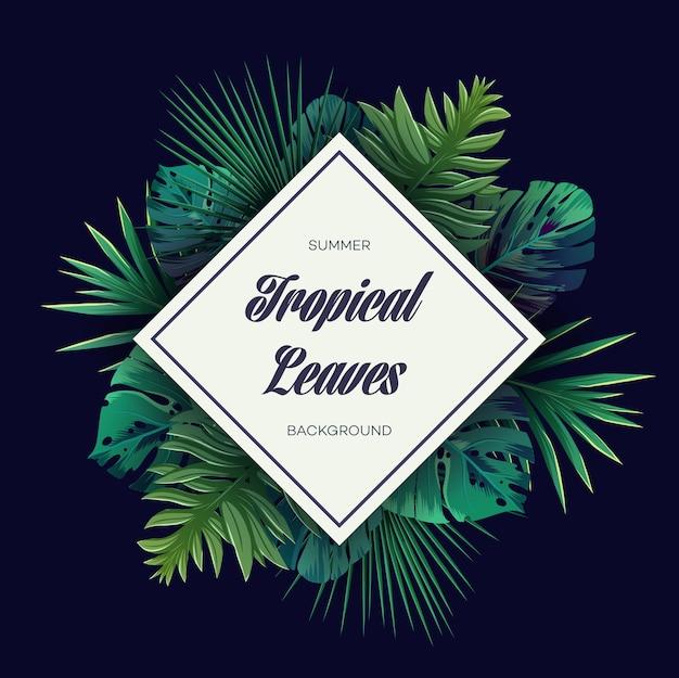 Яркий тропический фон с растениями джунглей. вектор экзотический образец с пальмовыми листьями. Premium векторы