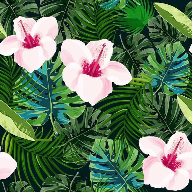 Bright tropical background. Premium Vector