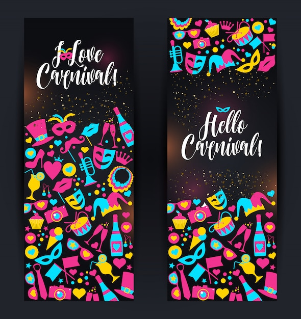 Bright vector carnival banners and sign about carnival Premium Vector