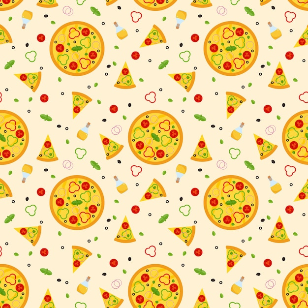 Bright vector seamless pattern with pizza Premium Vector