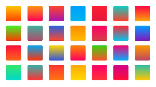 Bright vibrant colorful set of gradients background Free Vector