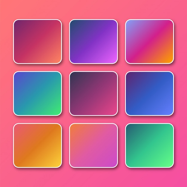Bright vibrant set of gradients background Premium Vector
