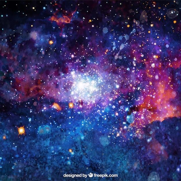 Priorità bassa luminosa dell'acquerello della galassia Vettore gratuito